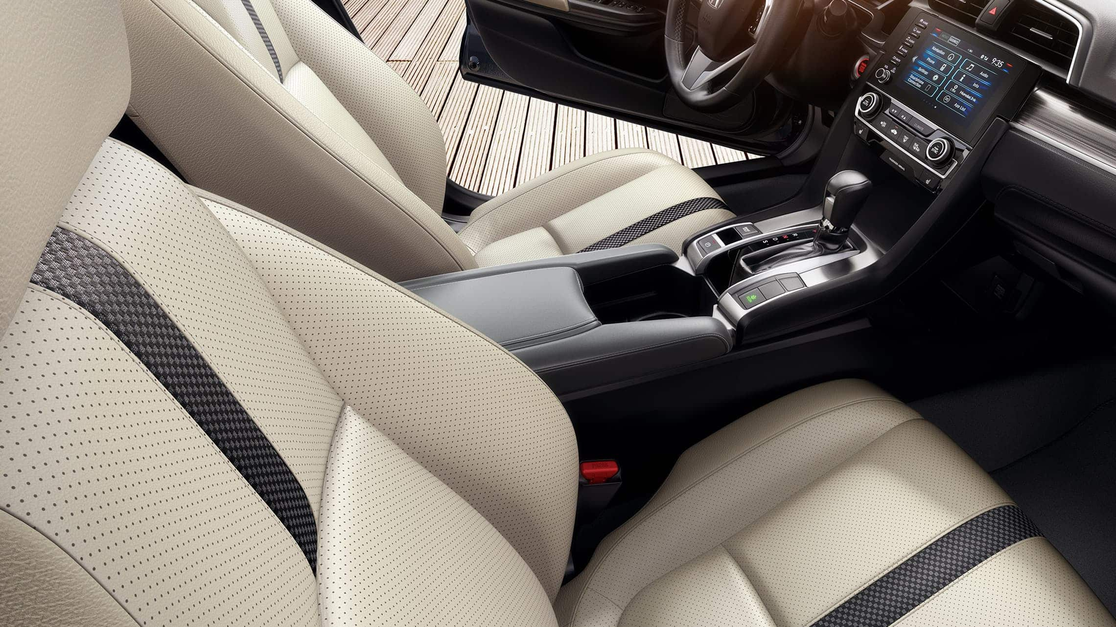 Interior passenger-side view of front seats in the 2020 Honda Civic Touring Sedan in Ivory Leather.