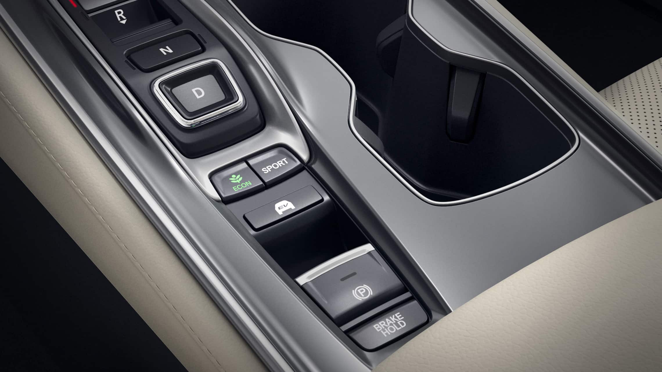 EV Mode selector detail in the 2020 Honda Accord Hybrid Touring.