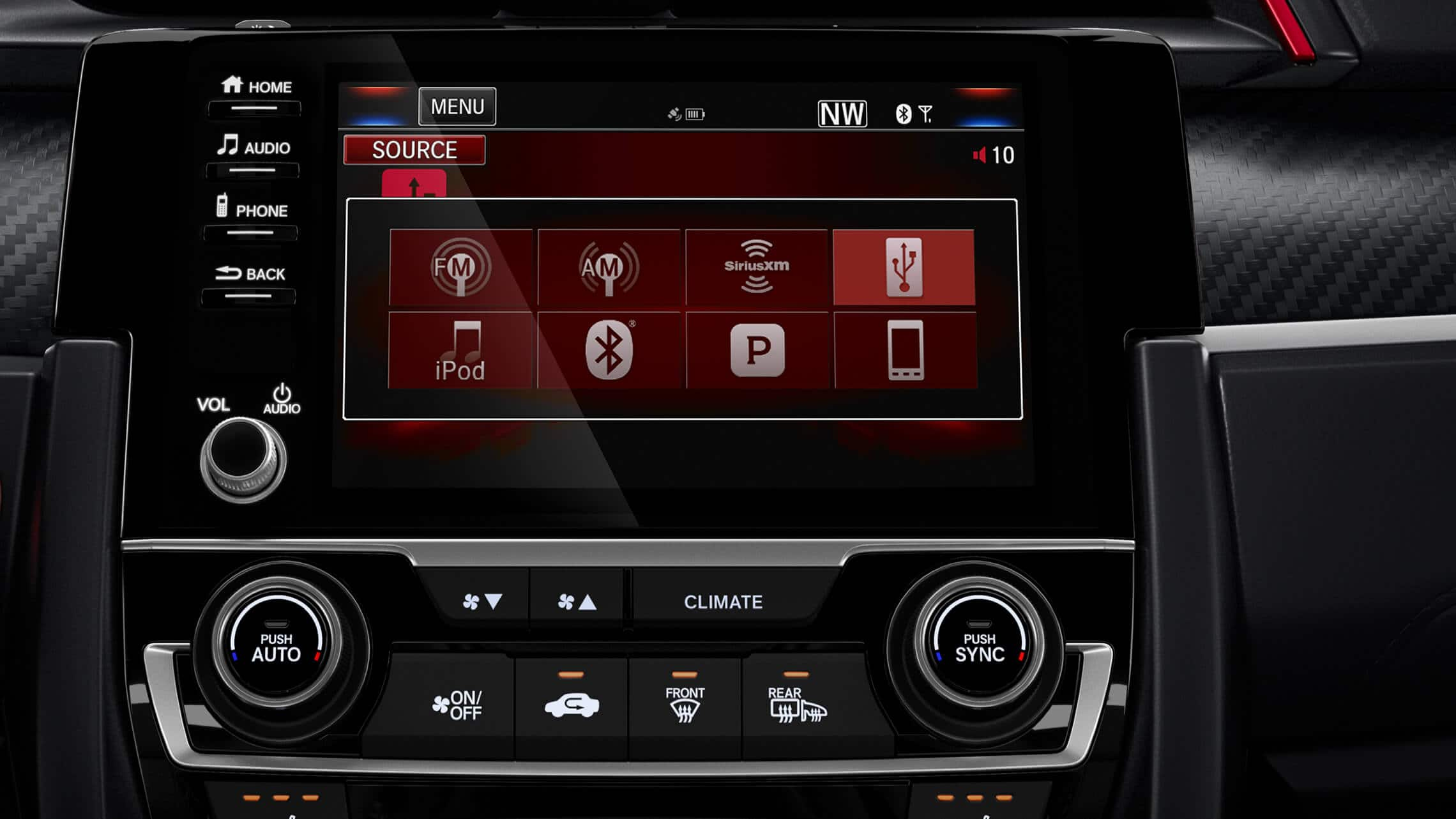 Display Audio touch-screen detail on 2020 Honda Civic Si Sedan.