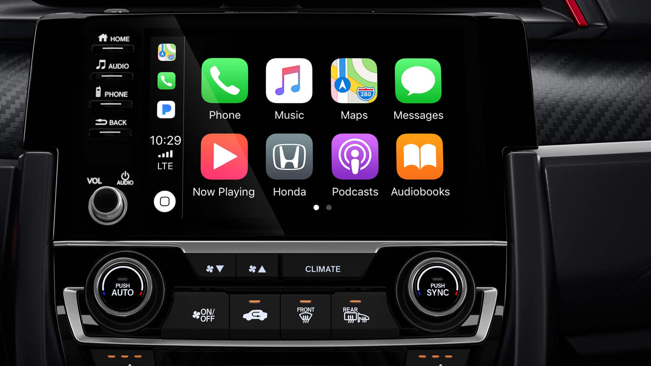 Apple CarPlay® detail on 7-inch Display-Audio touchscreen in 2020 Honda Civic Si Sedan.