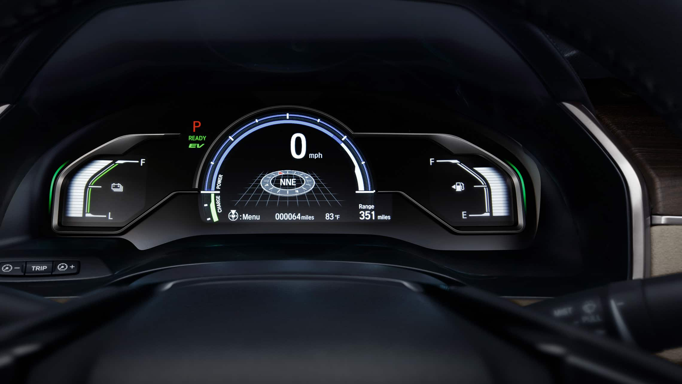 Detail of digital Driver Information Interface in 2020 Clarity Plug-In Hybrid.