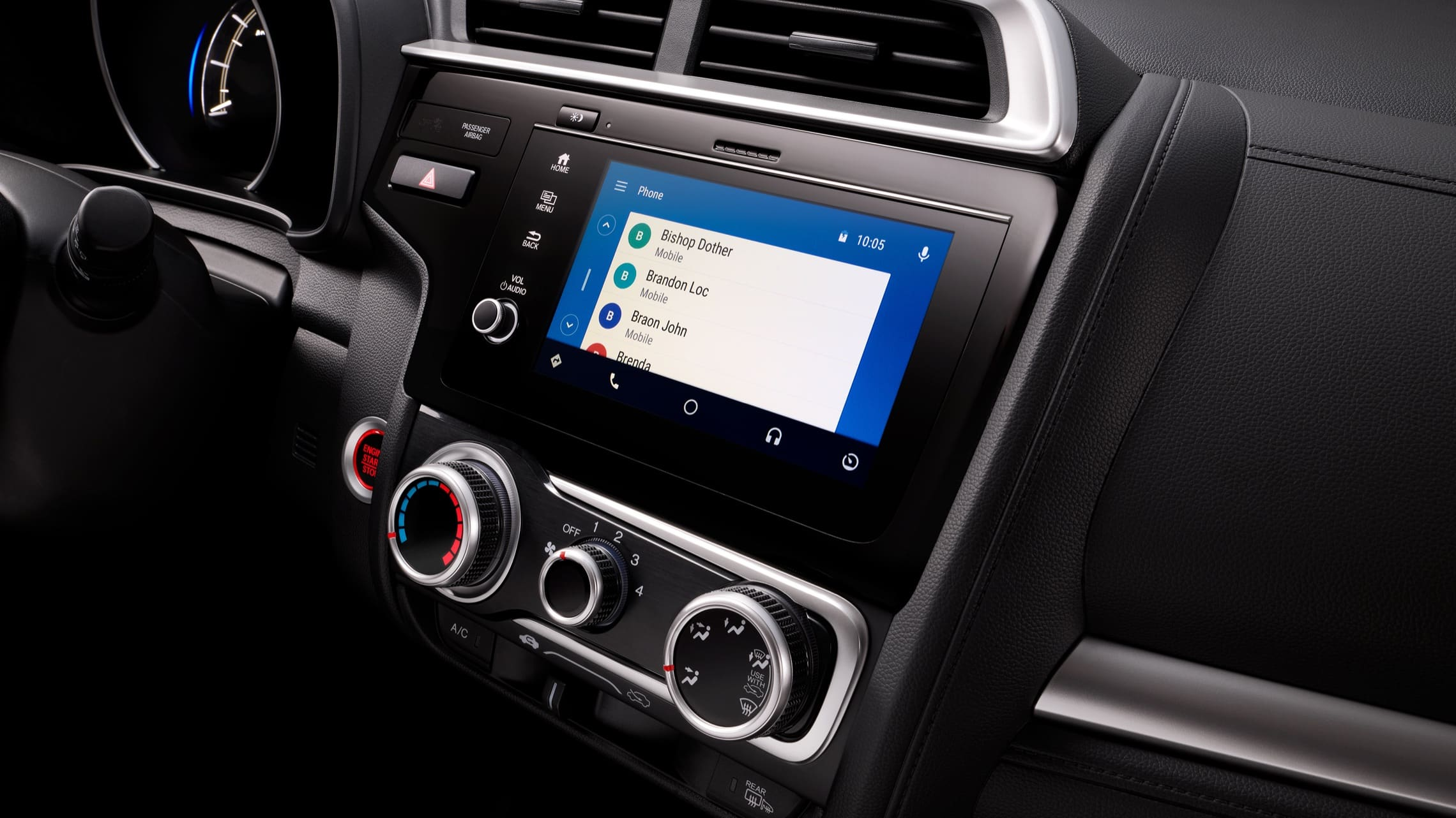 Display Audio touch-screen with Android Auto™ detail on 2020 Honda Fit.