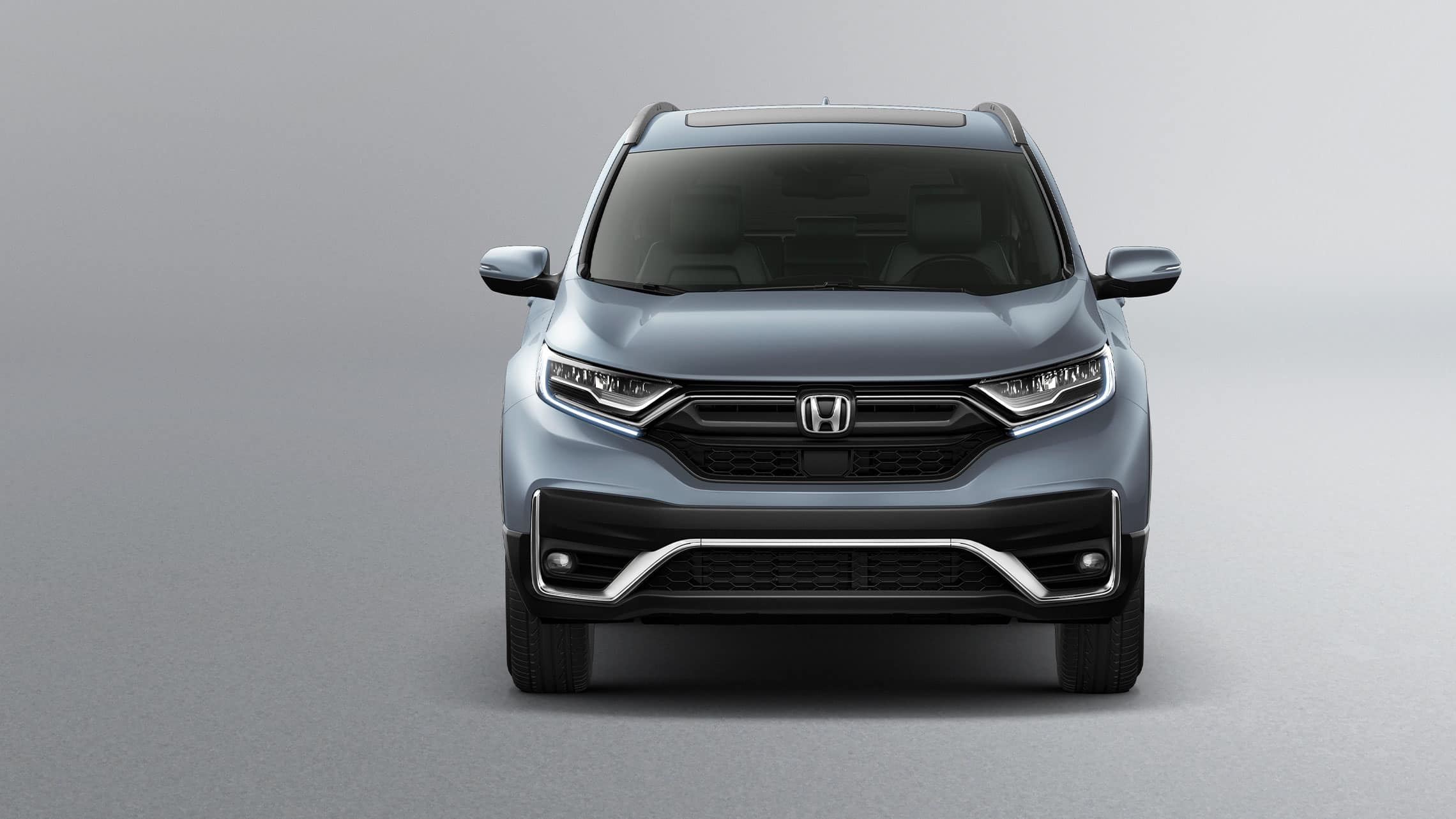 Front view of the 2021 Honda CR-V Touring in Sonic Gray Pearl.